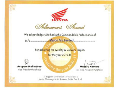 """Q"" Award for Quality & Delivery – Honda Motorcycle for 2 consecutive years"