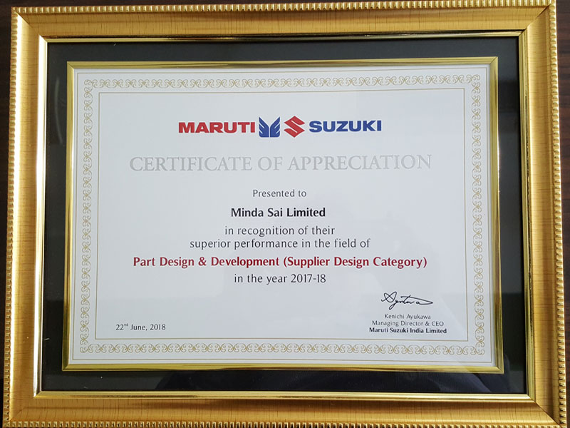 Certificate of appreciation for Design & Development